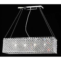 Chrome/ Crystal 4-light Rectangular Adjustable-height Chandelier $236 Overstock  31.5 x 9 x 8