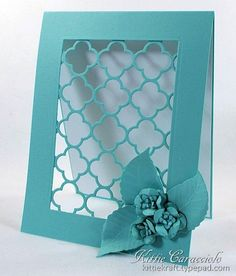 I have another Taylored Expressions Quatrefoil Cutting Plate project to share with you today. This time I wanted to show off the lovely design by framing it in a see thru window. I created the flowers from. Cute Cards, Diy Cards, Die Cut Cards, Card Tutorials, Quatrefoil, Card Tags, Flower Cards, Greeting Cards Handmade, Homemade Cards