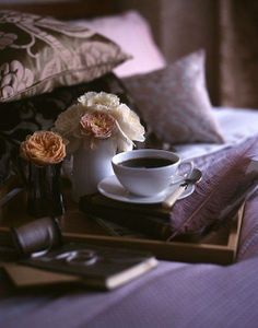 Coffee trays in front of pillows