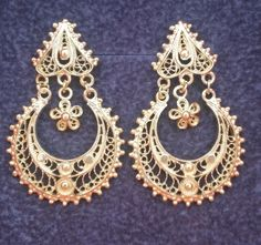 Gold Plated Sterling Silver 925 Filigree Earrings Portuguese Bridal | eBay