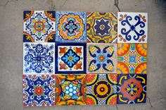 12 Mexican Talavera Tiles. Hand made-Hand painted by MexicanTiles