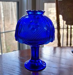 Vintage Cobalt Blue Glass FAIRY LAMP Candle Holder by MaxxGlass, $39.95
