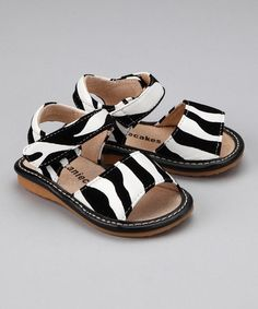 Take a look at this Zebra Squeaker Sandal  by Laniecakes on #zulily today!