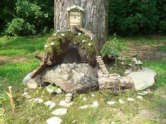 Fairy Patio for the front cedar tree  i  love this ideA