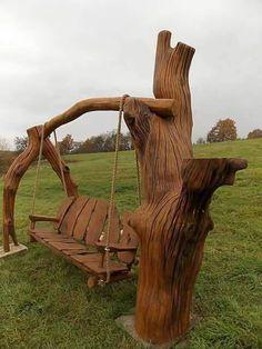 Sillón balancín de madera