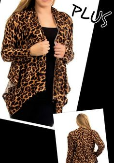 Brown Leopard Cardigan PLUS -Get it at www.facebook.com/anjboutique LIKE our page to keep up with our promotions!
