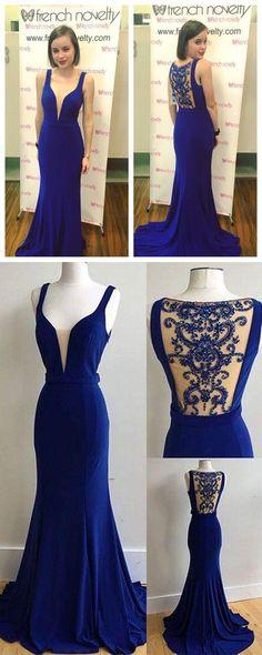 Royal Blue V Neckline Prom Dresses Wedding Party