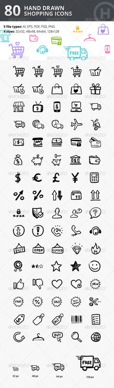 80 Hand-drawn Shopping & Commerce Icons Design Template - Web Icons Design Template PSD, Vector EPS, AI Illustrator. Download here: https://graphicriver.net/item/80-handdrawn-shopping-commerce-icons/2895085?ref=yinkira