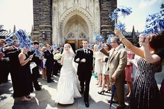 Duke University wedding exit with pom poms