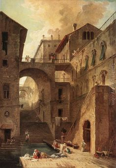 """L'Escalier des Lavandieres """"Stairway of the Washerwomen"""", 1796 Hubert Robert May 1733 – 15 Apr was a French painter. Great Paintings, Old Paintings, Landscape Paintings, Fantasy Landscape, Fantasy Art, Urban Landscape, Carl Spitzweg, City Art, Museum Of Fine Arts"""