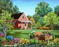 Check Out These Arts And Crafts Tips Cottage Art, Cottage In The Woods, Cartoon House, Country Scenes, Country Art, Country Living, Old Farm, Whimsical Art, Beautiful Paintings