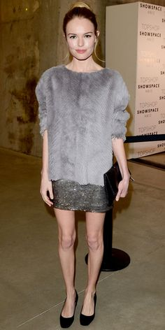 Kate Bosworth arrived for the Topshop Unique show in a furry top, sequin skit and black extras.