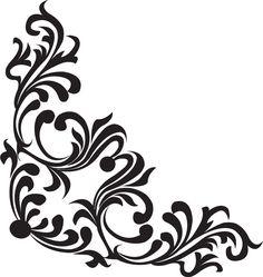 草木のライン線イラスト-白黒・茎葉・コーナー