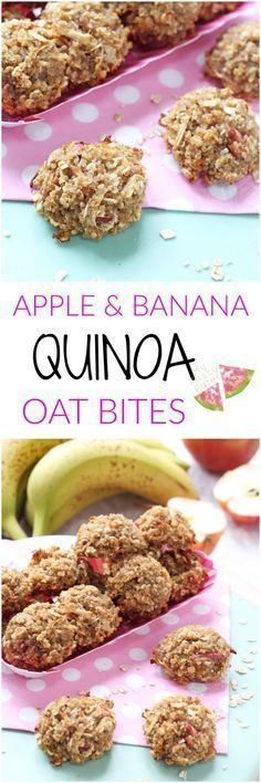 Healthy Snacks For Kids Delicious mini bites made with four simple ingredients, soft and chewy so perfect for baby led weaning and toddlers too. Quinoa Bites for Kids! Baby Food Recipes, Snack Recipes, Cooking Recipes, Healthy Recipes, Jello Recipes, Kid Recipes, Whole30 Recipes, Vegetarian Recipes, Recipies