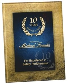 6 1/2 X 8 1/2 Gold Blue Acrylic Art Plaque with Easel - $38.75  Available at ulekstore.com