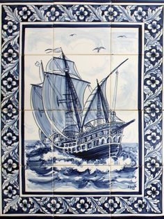 In this page you have same examples of mural made with Twelve Hand Painted Tiles Azulejos Art Nouveau, Turkish Art, House Tiles, Tile Murals, Vintage Nautical, Portuguese Tiles, Panel Art, Mural Painting, Delft