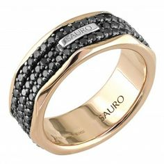 Italian Designer Sauro Rose Gold Rotating Black Diamond Ring