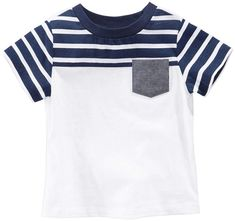 First Impressions Striped Pocket Cotton T-Shirt, Baby Boys, Created for Macy's - White 24 months Baby Footprints, Mixed Babies, Baby Kids Clothes, Trendy Plus Size, Baby Boy Outfits, Baby Boys, Mens Tops, T Shirt, Cotton