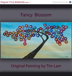 Sale Original large surreal art abstract painting Fancy Blossom tree oil painting Modern deco by tim lam 48x24