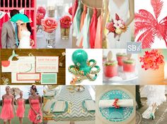 This color combo (coral and teal/turquoise/mint) is so beautiful!