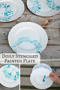 It's really fun and easy to upcycle vintage crockery with paper doilies. I used the doilies as a stencil to make a hand painted plate. Vintage Crockery, Vintage Plates, Pottery Painting, Ceramic Painting, Vintage Home Decor, Diy Home Decor, Hand Painted Plates, Paint Plates, Paper Doilies
