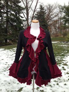 Cardigan Handmade Ruffled Light Jacket Burgundy Gray Top Recycled Sweaters Women Clothing Medium to Large Size Ready. $89.00, via Etsy.