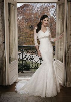 Modest Queen Anne Lace Empire Waist Mermaid 3/4 Length Sleeve Wedding Dresses - 1300103895B - US$289.99 - BellasDress