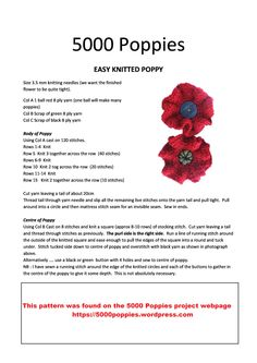About the 2018 Poppy Project – Norfolk in World War One Knitted Poppy Free Pattern, Poppy Pattern, Knitted Poppies, Knitted Flowers, Crochet Patterns For Beginners, Knitting Patterns Free, Puppet Patterns, Doll Patterns, Remembrance Day Poppy