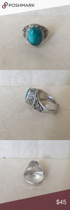 Adjustable turquoise sterling silver ring This ring is adjustable from size 8 and up  This adjustable ring is handmade in Nepal, it is made of 925 sterling silver and turquoise Handmade Jewelry Rings