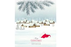Winter Christmas background Graphics Winter christmas background with a snowy village landscape and santa hat. Vector.My works are fully by ecco