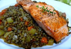 Salmon with French Lentils