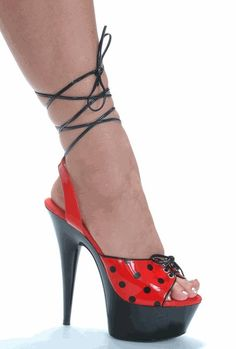 Red '6-pointed' Stiletto Polka Dot  Black Platform Shoe with Lace Ties.  www.giftag.com