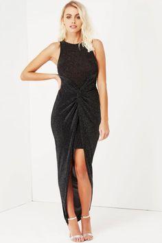 Girls on Film Black Lurex Knot Front  Dress
