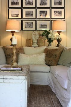 Neutral and cozy small living room - I like the shelf behind the couch Brandon's place