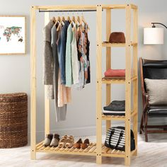 Whitmor's Slat Wood Wardrobe adds additional space to your bedroom or closet while also showcasing the beauty of wood built products. The unit features lacquer finished natural wood with a metal hangi Pallet Wardrobe, Diy Wardrobe, Open Wardrobe, Wardrobe Design, Pallet Closet, Wardrobe Ideas, Portable Closet, Diy Casa, Closet Designs