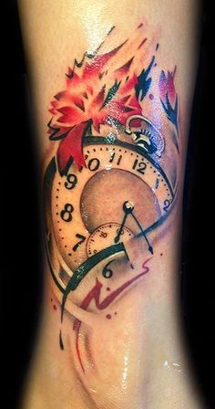 Cute tattoo #tattoo #clock #cute