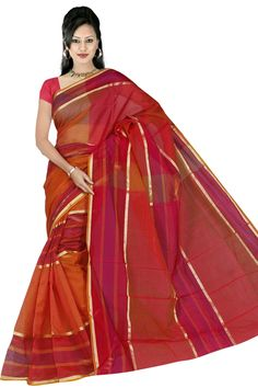 Red Bengal Cotton Saree