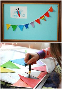 A rainbow bunting made with melted crayon drawings...