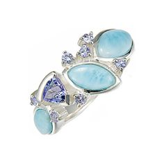 Sparkle like the Caribbean Sea! MarahLago, the first name in Larimar jewelry, matches elegance with style in this shining sterling silver, Larimar and tanzanite ring.