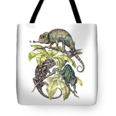 Hoffmanns Two Toed Sloth Tote Bag featuring the painting Indian Chameleon by Otis Porritt