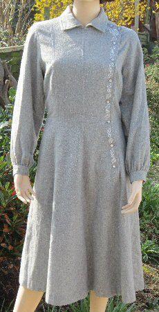 60s vintage Horrockses light grey wool dress Cossack style, Bust 38 UK 16    Bust = 38  Waist = 32  Hips = 42  Shoulder to waist = 17  Shoulder