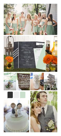 Mint and gray wedding colors - chalkboard wedding inspiration. Love this board! Modern, light, pretty.