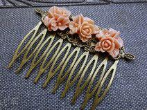 Rosen, Vintage Haarklamm Haarspange
