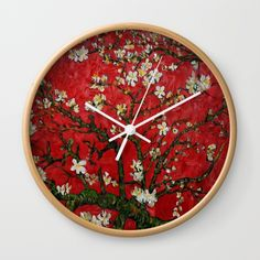 Van gogh Digital Abstract Daisy Wall Clock #WallClock  #abstract #vangogh #paintings #starrynight #starry #night #abstractpainting #pattern #popart