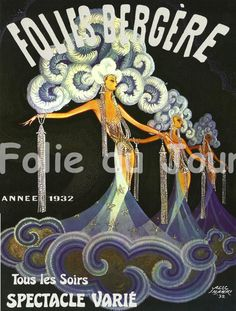 FOLIES BERGERE 1932 Art Deco - French Cabaret Miss - french poster wall decor