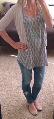 Casual look. Distressed jeans with tunic and cardigan