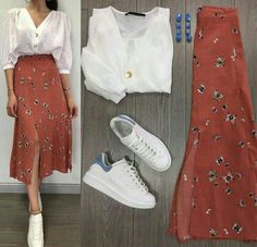 Cute and beautiful fashion style for women of all time 20 Modest Fashion, Skirt Fashion, Fashion Dresses, Mode Outfits, Stylish Outfits, Mode Ulzzang, Mode Ootd, Long Skirt Outfits, Outfit Combinations