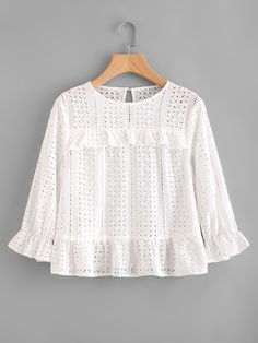 Shein Frill Trim Eyelet Embroidered Top - #bllusademujer #mujer #blusa #Blouse