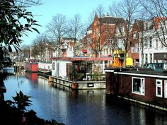 Canalhouseboats at Schuitendiep Groningen The Netherlands