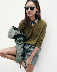 JUN '15 Style Guide: J.Crew women's garment-dyed linen swing sweater, drapey belted pull-on short and Rivieras™ Lord slip-on sneakers.